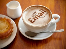 EmailOnDeck logo in Coffee